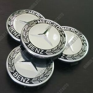 4 Pc Black Wheel Center Caps For Mercedes Benz Emblem Wreath Hubcaps 75mm 3 Inch