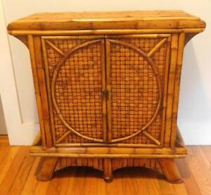 Mid Century Modern Hollywood Regency Bamboo Cabinet Night Stand Asian Style