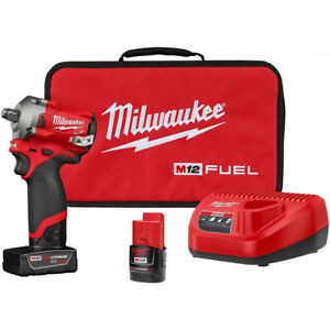 Milwaukee Electric Tool 2555 22 M12 Fuel Stubby 1 2 Impact Wrench Kit New