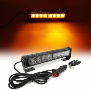 4pcs 9 8 Led Emergency Warning Amber Dash Remote Control Grill Strobe Light Bar