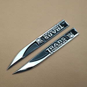 Pair Car Emblem Metal Black Transformers Decepticon Knife Fender Badge Sticker