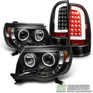 For 2005 2011 Toyota Tacoma Blk Projector Headlights Light Tube Led Tail Lamps