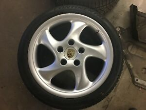 Porsche 986 Boxster S Turbo Rear Wheel Rim 99336213801 18x9 Cayman 911 Good Tire