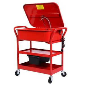 20 Gallon Mobile Parts Washer Cart Electric Solvent Pump Cleaner With Shelf Red