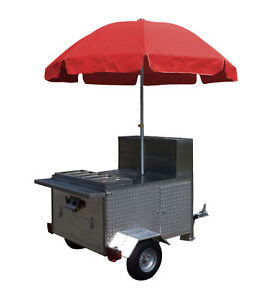 Mobile Hot Dog Cart Trailer Food Concession Vending Kiosk Stand