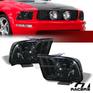 For 05 09 Ford Mustang Euro Smoke Housing Clear Lens Headlights Headlamp Pair Dy