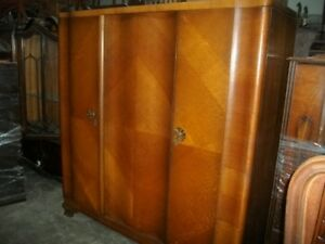 French 3 Door Vintage Art Deco Armoire Wardrobe