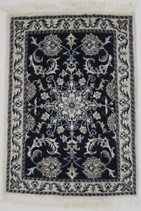 Lovely Hand Knotted Navy Nain Kashmar Persian Rug Oriental Area Carpet 2x3