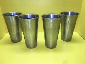Vollrath Milkshake Cup 48070 Stainless Steel Lot Of 4 Hamilton Beach Malt Mixer
