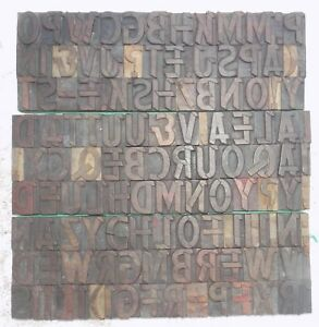 126 Piece Vintage Letterpress Wood Wooden Type Printing Blocks 40 M m bc 5003