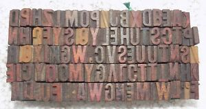90 Piece Vintage Letterpress Wood Wooden Type Printing Blocks 10 M m bc 5013