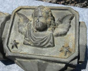 Antique Architectural Cast Iron Angel Cherub Fence Finial 1 Rustic Garden Decor