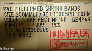 Shrink Band Preforms 250mm X 30mm Pvc Clear Rectangle 2 Mil Case Of 4000