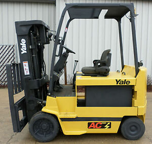 Yale Model Erc080hh 2007 8000lb Capacity Great 4 Wheel Electric Forklift