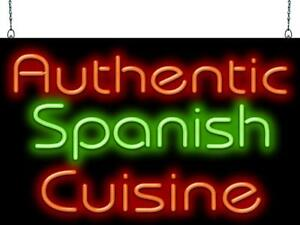 Authentic Spanish Cuisine Neon Sign Jantec 2 Sizes Paella Croquetas