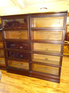 Pair 2 Mahogany Globe Wernicke 5 Stack Barrister Bookcases Arts