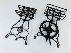 Vintage Industrial Sewing Machine Legs Base Pair Cast Iron Table Commercial End