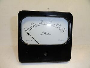 Large Vintage Burlington Dc Volts Meter Measures 0 300 Vdc Bakelite 741 Gauge