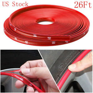 Us 8m Car Wheel Hub Rim Edge Protector Ring Tire Strip Guard Rubber Sticker Red