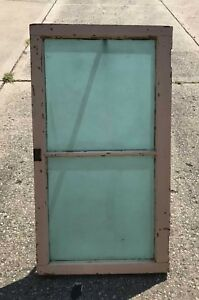 Vintage Textured Turquoise Blue Stained Glass Window W Solid Wood Frame