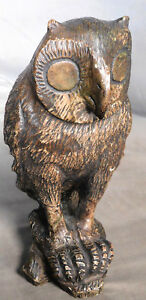 Vintage Modern Snow Owl Carved Soap Stone Abstract Sculpture Serpentine Marble
