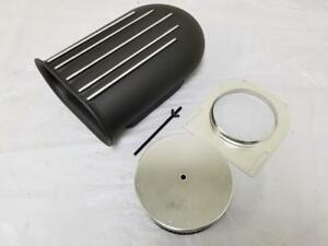 14 Black Aluminum Hilborn Style 4 Barrel Carb Finned Air Cleaner Hood Scoop Kit