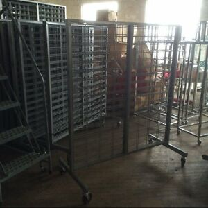 Grid Slat Display Rolling Metal Lot 8 Used Store Fixture Gridwall Slatwall Rack