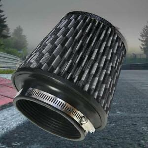 4 Inch Inlet Short Ram Cold Intake Round Cone Mesh Air Filter Carbon Fiber