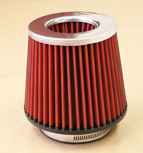 4 Inch Chrome Inlet High Flow Short Ram Cold Intake Round Cone Red Air Filter
