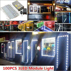 100FT 100X SMD 5050 3 LED Module Bar Window Light Club Store Front Sign Lamp US