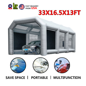33x16 5x13ft Mobile Inflatable Paint Spray Booth Tent Portable Car Workstation