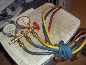 Imperial Eastman Hvac Manifold Gauges With 4 Hoses 425 cb 423 cr See Pictures