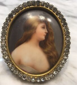 Antique Rhinestone Bronze Frame Enamel Painting Porcelain Plaque Portrait Lady