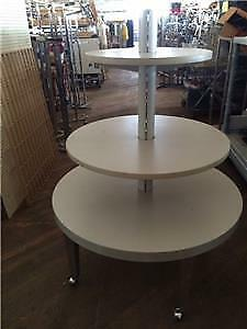 Tier Tables Round Display Upscale Used Store Fixtures Modern Silver Rolling
