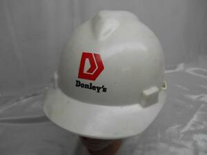 Old 1980 s Donley s V gard White Hard Hat Construction Miners Helmet Advertising