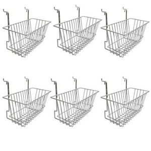 6 Pc Chrome 12x6x6 Slatwall Gridwall Pegboard Narrow Deep Basket Display Rack