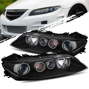For 06 08 Mazda 6 Halogen Type Black Projector Headlights Lamps Lh Rh Assembly