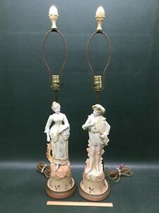 Pair Of Antique Bisque Figural Lamps French Couple Gentleman Lady Royal Dux