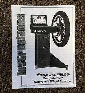Snap On Wbm200 Motorcycle Wheel Balancer Manual Field Service Guide Spin