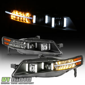Black 2004 2008 Acura Tl W Led Signal Drl Tube Projector Headlights Headlamps