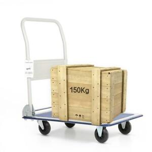 Office Industry Foldable Platform Hand Truck Cart 150kg Luggage Trolley F6x1