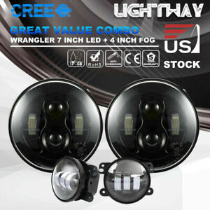 Pair 7 Inch Led Headlight Pair 4 Inch Led Fog Light For Jeep Wrangler Jk 07 17