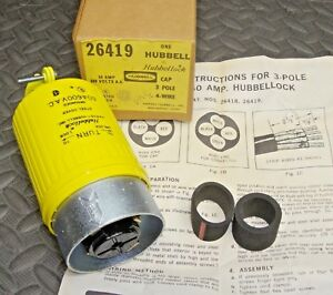 New Hubbell 26419 Locking Plug 4 Wire 3 Pole 60 Amp 600 Volt Ac Hubbellock