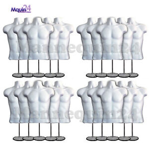 20 Pack Male Torso Mannequin Forms W 20 Stands 20 Hangers White Men Display
