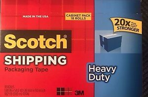 Scotch Heavy Duty Shipping Packing Tape 18 Pk 3m 3850 3 Core Free Priority Ship