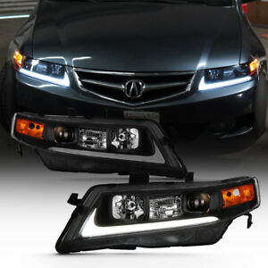 Black 2004 2008 Acura Tsx Cl9 Led Tube Projector Headlights Headlamps Left Right
