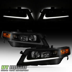 Black Smoked 2004 2008 Acura Tsx Cl9 Led Tube Projector Headlights Headlamps Set