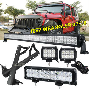 Mount Bracket Fit For Jeep Wrangler Jk 52 700w 12 Led Light Bar 4 18w Pods