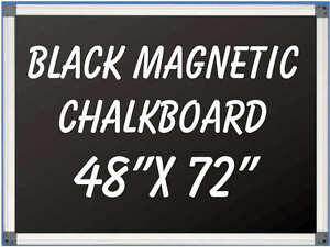48 X 72 Aluminum Framed Magnetic Black Chalkboard With Tray