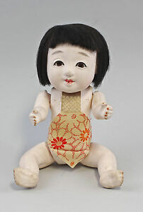 Osuwari Ningy Seat Doll Girl Japan Um 1900 Gofun 99839037